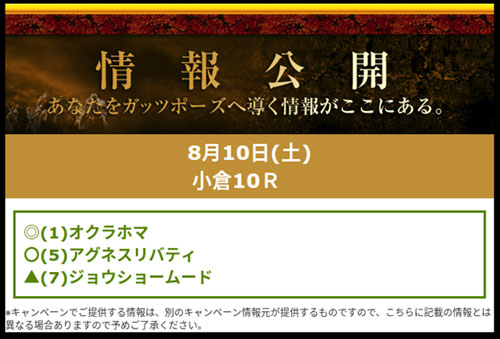 PREMIUM無料情報コンテンツ、穴馬情報:金曜更新8月10日小倉10R予想画像