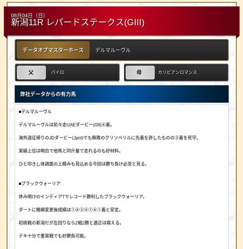 ギャロップジャパン、データオブマスターホース無料買い目画像